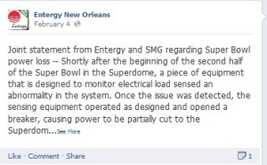 Entergy New Orleans Facebook Feb. 4th